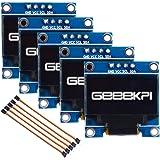 GeeekPi 5pcs 0.96 Inch OLED Module 12864 128x64 White SSD1306 Driver IIC Serial Display Board Module for Arduino, Raspberry P