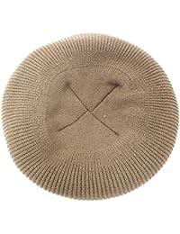 ハッピーハット ニットベレー帽 無地シンプル リブ編みニット ベージュ knit-1586-01