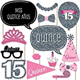 Quinceanera Pink - Sweet 15 - Photo Booth Props Kit - 20 Count