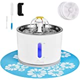 Cat Water Fountain Stainless Steel, 81oz/2.4L Intelligent Auto Power Off Pump, Pet Fountain, Cat Water Dispenser with 3 Carbo