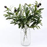 OurWarm 10pcs Olive Tree Branches Artificial Olive Plant Branches Fruits Silk Olive Leaves Decor for Home Garden Office Weddi