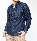 ヴィンテージイーエル[VINTAGE E.L.] ウォバッシュストライプデニム 長袖ワークシャツ (02-77218) 70/ダークインディゴ 40(L)サイズ