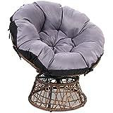 Gardeon Swivel Papasan Chair Indoor Outdoor Furniture Lounge-Brown