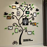 Alicemall Tree Wall Stickers Family Hope Tree of Life Black 3D Wall Decals Photo Frame Acrylic Decorative Wall Sticker Wall A