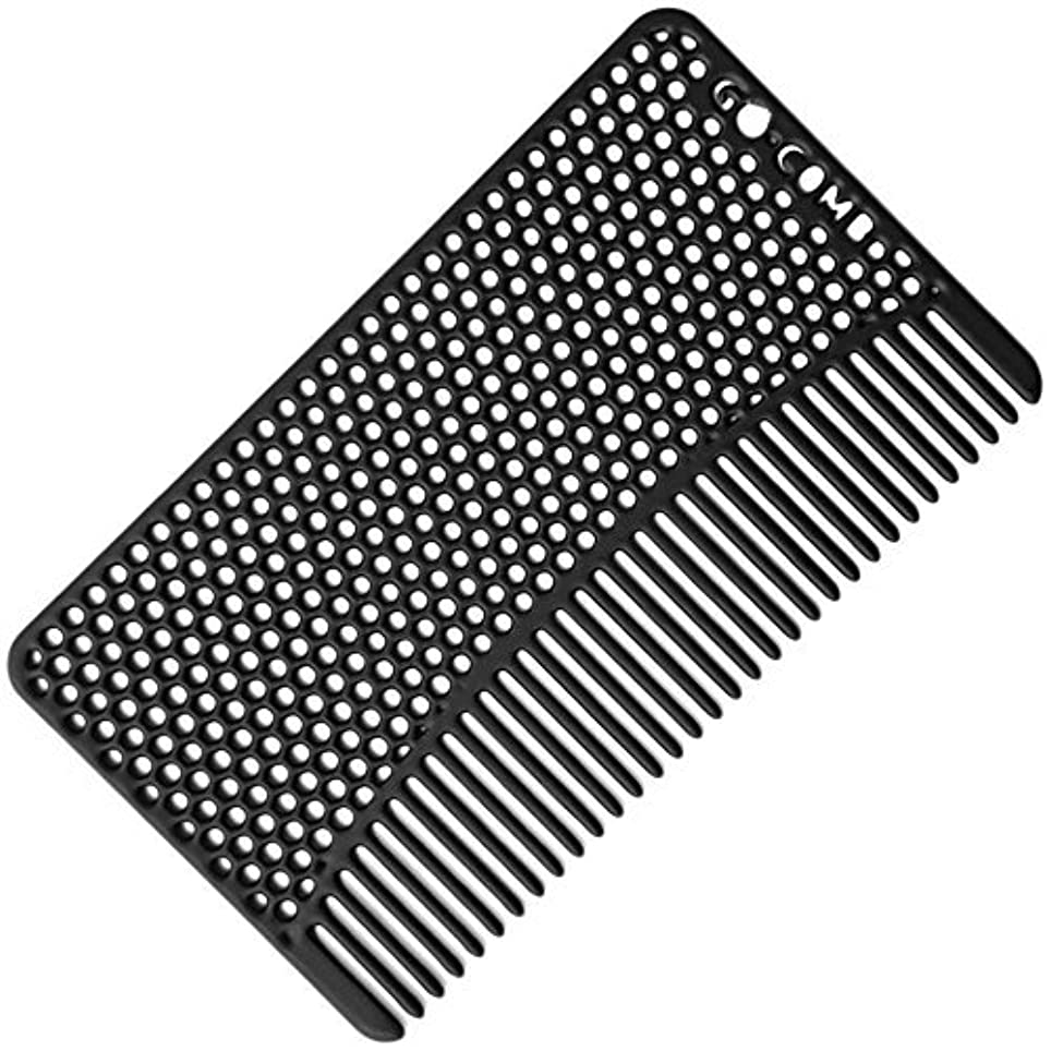 召集するコマンドタンカーGo-Comb - Wallet Comb - Sleek, Durable Stainless Steel Hair and Beard Comb - Black [並行輸入品]
