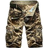 IDEALSANXUN Men's Casual Loose Fit Multi-Pockets Military Cargo Shorts