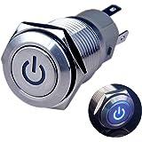 Ulincos 押しボタンスイッチ U16F5 オルタネート 防水スイッチ 切り替え IP67 ブルー LED 1NO1NC SPDT ON/OFF シルバー ステンレススチール 12V 16mm IP67防水 カプラー付き