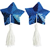 Reusable Stars Sequin Silicone Pasties Bra Sexy Breast Petals with Tassel