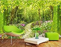 Minyose 3Dカスタマイズサイズ写真の壁紙森の小道の花草風景の背景壁の壁画のリビングルームの寝室の壁紙-350cmx245cm