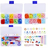 381 Pieces Stitch Ring Markers and Colorful Knitting Crochet Locking Counter Stitch Needle Clip+Weaving Tools Knitting Kits w
