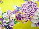ちりめん生地 和布 古布 はぎれ◆昭和レトロな大柄な花柄 黄 YS05-03(10cm)