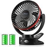 【2020年最新改良版】 KEYNICE usb扇風機 卓上扇風機 クリップ 充電式 usbファン 超強風 静音 風量4段階調節 360度角度調整 長時間連続使用 LEDライト機能付き ブラック