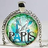 3 色のピースフランスパリガラスペンダントネックレスエッフェル塔女性 2015 年の宝石類のためのガラスドームシルバーチェーンネックレス pendnat 魅力