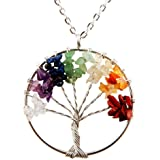 Tree of Life Pendant for Necklace Amulet Crystal Quartz DIY 7 Chakra Gemstones Charms for Peace Family Best Friends Mothers D