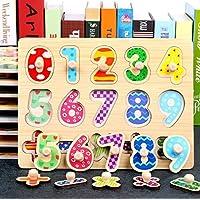 幼児期のゲーム 子供のための創造的な木製の就学前の幾何学的形状のパズルボード教育Puzzle_Number