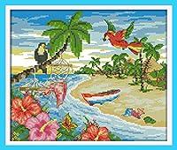 LovetheFamily 夏のビーチ 45×40cm DIY十字刺繍 手作り刺繍キット 正確な図柄印刷クロスステッチ 家庭刺繍装飾品 11CT インチ当たり11個の小さな格子 刺しゅうキット フレームがない ホーム オフィス装飾 手芸 手工芸 キット 芸術 工芸 DIY 手作り 装飾品