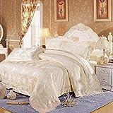 高級ジャガードのサテンの綿/シルク王/クイーン・キングサイズの寝具セット/シートと枕カバー掛け布団カバー