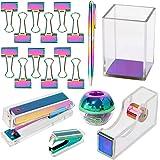 Multibey Rainbow Acrylic Office Supplies Desk Set for Girls Women,Stapler, Tape Dispenser, Pen Pencil Cup, Ballpoint Pen, Min