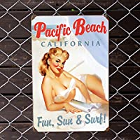 アメリカンスティールサイン「Pacific Beach Pinup」 PTS-060 /パシフィックビーチ・ピンナップ/メタルサイン・看板/アメリカン雑貨/
