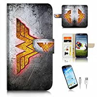 Samsung Galaxy ( J3 2016 ) Flip Wallet Case Cover & Screen Protector & Charging Cable Bundle! A6351 Wonder Woman