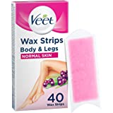 Veet Easy Gelwax Wax Strips Hair Removal for Normal Skin, 40 pack