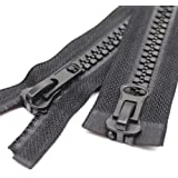Meillia #10 Two Way Separating Jacket Zipper Heavy Duty Plastic Zipper Black Large Resin Zippers for Sewing Coat Jackets Clot