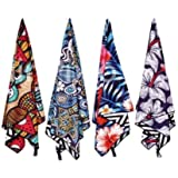 Microfiber Beach Towels, Sand Free, 4 Colourful Designs, Double Sided Print