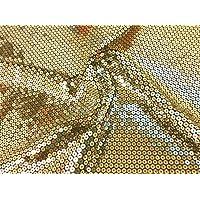 okadaya スパンコール生地 50cm 約85cm巾 500674 col.2 ゴールド(ベース生地 黒)