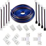 16.4FT(5M) 4-pin RGB LED Strip Extension CableLED Strips Connectors Kits with 4 Strip JumpersL-Shape Connecters for 5050 Flex