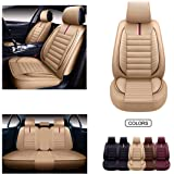 OASIS AUTO Leather Car Seat Covers, Faux Leatherette Automotive Vehicle Cushion Cover for Cars SUV Pick-up Truck Universal Fi