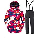 Luxfan Women&Men Colorful Print Hooded Snow Jacket Coat Windproof Waterproof Skiing Jacket Suit