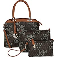 MKF 3-PC Set, Handbag, Crossbody for Women, Removable Adjustable Strap - Vegan Leather Wristlet Purse