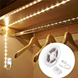 1M Rechargeable Motion Sensor Wardrobe Light, LUXJET Flexible LED Strip with 30LED, PIR and Light Sensor, Warmwhite Night Lig