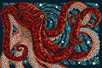 クールなタコの深層水 Cool Octopus Deep Water Painting silk fabric poster シルクファブリックポスター 50cm x 33cm