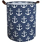 Sanjiaofen Canvas Fabric Storage Bins,Collapsible Laundry Baskets,Waterproof Storage Baskets with Leather Handle,Home Decor,T