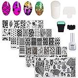 AIMEILI Nail Art Stamping Template Manicure Tool Kit, 5pcs Flower Geometric Owl Nail Stamping Plates, 2 Stamper, 2 Scraper, 1 Latex Tape Peel Off Liquid
