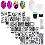 AIMEILI Nail Art Stamping Template Manicure Tool Kit, 5pcs Flower Geometric Owl Nail Stamping Plates, 2 Stamper, 2 Scraper, 1