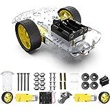 Aideepen UNO ロボットキット スマートロボットカー、スピードエンコーダー + バッテリーボックス + 65x26mmタイヤ付き、大人と子用のスマートカー教育玩具、Arduino / Microbit / Raspberry Pi対応DIY