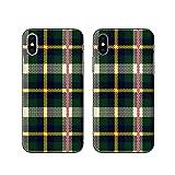 バーバリー ニット Apple iPhone X 専用 スマホカバー スマホケース (ハード) [Kouken] チェックニット グリーン