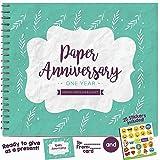 Unconditional Rosie 年ごとに贈れる、結婚記念日ギフトカップル用結婚1年目 -1年目のミニブックとお揃いの木婚式用のカード付き。初めての結婚記念日メモリージャーナル -新婦や新郎に贈る特別なウェディングギフト。 グリーン