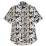 BONMAX 【モダン花柄】 アロハシャツ(ボタンダウン) FB4520U-5 ブラウン S