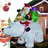 CLTWYZ 6 Feet Christmas Inflatable Outdoor Decoration, Santa Clause Riding The Polar Animation Bear with Shaking Head with LE