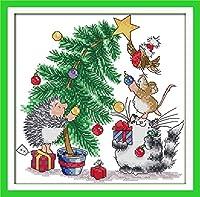 LovetheFamily クロスステッチキット DIY 手作り刺繍キット 正確な図柄印刷クロスステッチ 家庭刺繍装飾品 11CT ( インチ当たり11個の小さな格子)中程度の格子 刺しゅうキット フレームがない - 35×35 cm クリスマスプレゼント