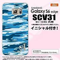 SCV31 スマホケース Galaxy S6 edge カバー ギャラクシー S6 エッジ イニシャル 迷彩B 青C nk-scv31-1169ini K
