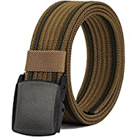 """Men's Nylon Belt, Military Tactical Belt with YKK Plastic Buckle, Durable Breathable Canvas Belt for Work Outdoor Cycling Hiking Skiing,Adjustable for Pants Size Below 46inches[53""""Long1.5""""Wide]"""