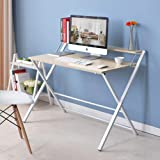 Foldable Computer Desk Simple Home Office Desk Folding Laptop Desk with Storage Shelf - White Maple