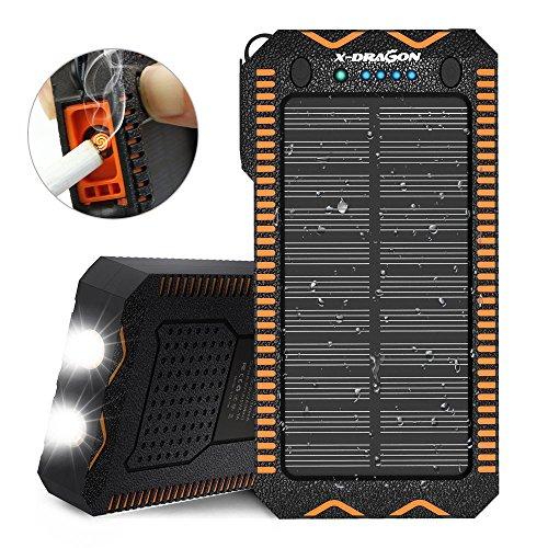 X-DRAGON ソーラー充電器 (15000mAh 2USB出力 マイクロUSB入力 LED懐中電灯 電子ライター付き) 災害 旅行 アウトドアに大活躍に対応 ソーラーチャージャー モバイルバッテリー (オレンジ)