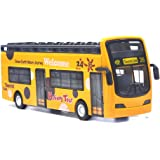 Ailejia Bus Toy Sightseeing Double Decker City Bus Open Top Model Die-Cast Metal Toy Cars Toy Die Cast Pull Back Vehicles Min