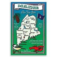 メイン州状態マップポストカードのセット20identicalはがき。Post Cards with meマップと状態シンボル。Made In USA。