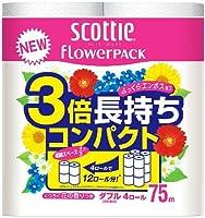 (まとめ買い) クレシア スコッティ トイレットペーパー フラワーパック 3倍長持ち 75m×4ロール ダブル 315041 【×3】